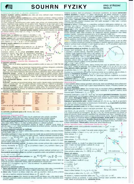 Souhrn fyziky pro střední školy